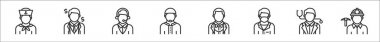 Set of 8 profession avatar thin outline icons such as sailor, businessman, customer service, moslem, butler, scientist, doctor, miner icon