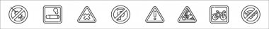 Set of 8 signal and prohibitions thin outline icons such as no drugs, smoking, bleach, no parking, warning, explosive, bicycle, no wifi icon
