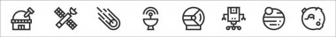 Set of 8 space thin outline icons such as observatory, satellite, meteorite, satellite dish, helmet, robot, planets, craters icon