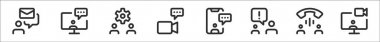 Set of 8 meeting thin outline icons such as email, chatting, settings, video call, chatting, chatting, call, video chat icon