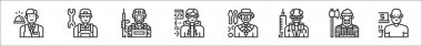 Set of 8 professions and occupation thin outline icons such as front desk, technician, soldier, programmer, juggler, doctor, lumberjack, freelancer icon