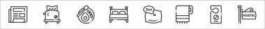 Set of 8 bed and breakfast thin outline icons such as newspaper, toaster, breakfast, bed, pillow, towel, door hanger, hostel icon