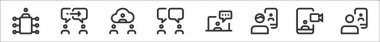 Set of 8 meeting thin outline icons such as meeting, chatting, video chat, chatting, chatting, videocall, videocall, videocall icon
