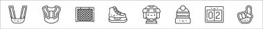 Set of 8 hockey thin outline icons such as mouth guard, shoulder pads, goal, ice skates, hockey player, knit hat, score, hand icon