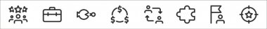 Set of 8 business thin outline icons such as group, briefcase, fish, money, business, puzzle, flag, target icon
