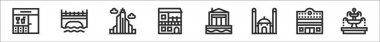 Set of 8 urban building thin outline icons such as bar, bridge, skyscrapper, house, maritime house, mosque, cinema, fountain icon