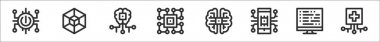 Set of 8 artificial intelligence thin outline icons such as power button, d, artificial intelligence, cpu, artificial intelligence, smartphone, algorithm, medicine icon