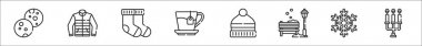 Set of 8 winter thin outline icons such as cookies, jacket, socks, tea, hat, bench, snowflake, candelabra icon