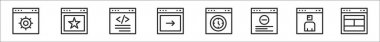 Set of 8 website element thin outline icons such as browser, favorite, coding, setup, speedometer, browser window, avatar, website icon
