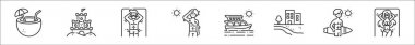 Set of 8 summer holiday thin outline icons such as coconut water, sand castle, sunbathing, sweating, yacht, beach, surfer, sunbathing icon