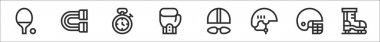 Set of 8 sport equipment thin outline icons such as ping pong, chest expander, stopwatch, boxing, swimming, helmet, american football, ice skate icon