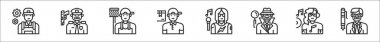 Set of 8 professions and occupation thin outline icons such as mechanic, police, cleaning staff, delivery man, singer, detective, disc jockey, ceo icon