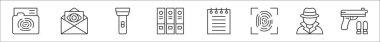 Set of 8 detective thin outline icons such as folder, envelope, flashlight, folder, notepad, fingerprint identification, detective, guns icon
