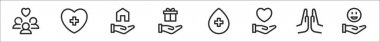 Set of 8 charity thin outline icons such as people, healing, shelter, donation, blood donation, kindness, praying, happiness icon