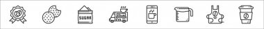 Set of 8 coffe shop thin outline icons such as guarantee, cookie, sugar, food truck, mobile application, measuring utensil, apron, coffee cup icon