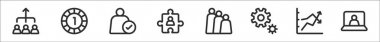 Set of 8 teamwork thin outline icons such as teamwork, one, guarantee, puzzle, team, cogwheel, graph, conference icon