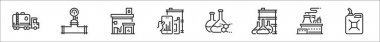 Set of 8 petroleum thin outline icons such as petrol, valve, gas station, trade, oil, oil, power plant, gasoline icon