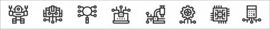 Set of 8 artificial intelligence thin outline icons such as robot, artificial intelligence, search, laptop, research, settings, cpu, calculator icon