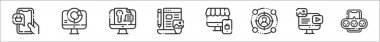 Set of 8 digital marketing lineart thin outline icons such as mobile shopping, analytics, keyword, blogging, online shop, target audience, web, feedback icon