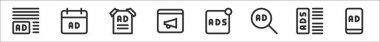 Set of 8 advertising thin outline icons such as ads, ads, poster, broadcast, ads, icon