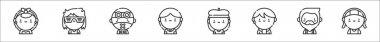 Set of 8 urban tribes thin outline icons such as rockabilly, flogger, cybergoth, preppy, beatnik, kpop, hipster, rastafari icon