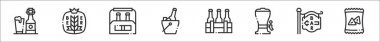 Set of 8 beer thin outline icons such as beer, wheat, beer, bucket, tap, bar, chips icon
