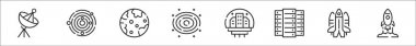 Set of 8 space thin outline icons such as satellite dish, galaxy, earth, galaxy, space colony, big data, space shuttle, rocket icon
