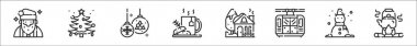 Set of 8 winter christmas thin outline icons such as santa claus, christmas tree, christmas ball, coffee mug, house, cable car, snowman, campfire icon
