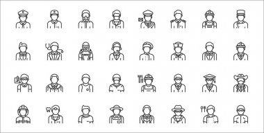 Set of 32 profession avatar thin outline icons such as swimmer, detective, farmer, firefighter, scholar, athelete, engineer, chef, doctor icon