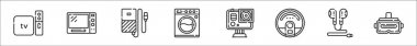 Set of 8 electronic devices thin outline icons such as apple tv, microwave, hard disk, washing machine, camera, robot vacuum, earphones, vr glasses icon