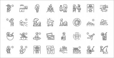 Set of 32 summer holiday thin outline icons such as fishing, yacht, sunscreen, woman, plane, surfer, swimming, beach sunset, beach icon