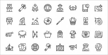 Set of 32 history thin outline icons such as skull, horn, ax, ship, fossil, bow, meteor, spear, rosetta stone icon