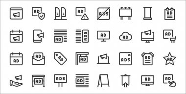 Set of 32 advertising thin outline icons such as ads, sports and competition, ads, advertising, poster, ads, broadcast icon