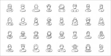 Set of 32 professions thin outline icons such as celebrity, diver, miner, professional profile, athlete, farmer, stewardess, flight attendant, athletic icon