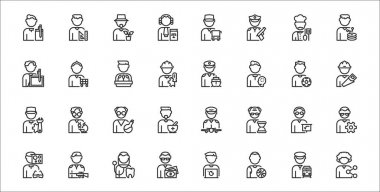 Set of 32 man worker avatar thin outline icons such as community manager, basketball player, financial advisor, optometrist, mathematician, scientist, carpenter, captain, salesman icon