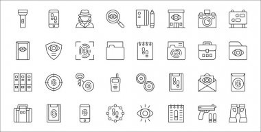 Set of 32 detective thin outline icons such as binoculars, police, footprints, briefcase, envelope, fingerprint identification, folder, report, spy icon