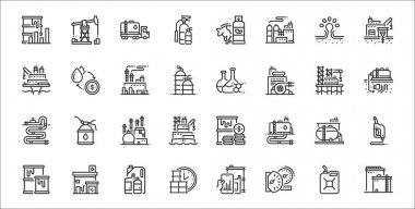 Set of 32 petroleum thin outline icons such as oil, oil, barrel per day, oil, gas, fossil, exchange icon