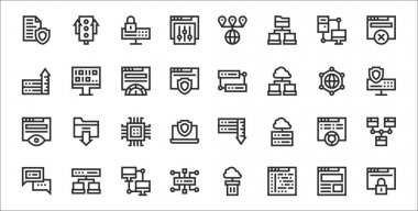 Set of 32 web hosting thin outline icons such as access, application, network, hosting, pie chart, cpu, server, database, algorithm icon