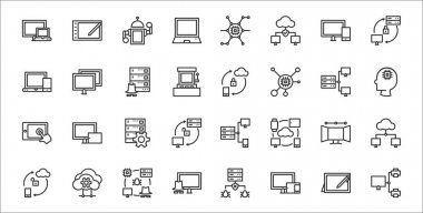 Set of 32 computers and network thin outline icons such as sharing file, computer tablet, hacking, synchronization, workstation, server, artificial intelligence, mobile sync, screen icon