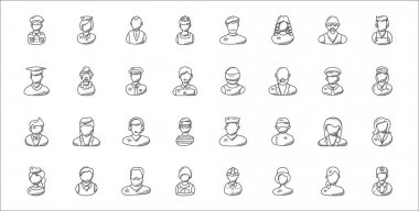 Set of 32 professions thin outline icons such as doctor, actress, royal guard, air hostess, employee, phone operator, pilot, athlete, clown icon