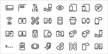 Set of 32 phones and mobiles thin outline icons such as transfer, eye scanner, smartphone, low, face recognition, music player, mobile cloud, smartphone, broken smartphone icon
