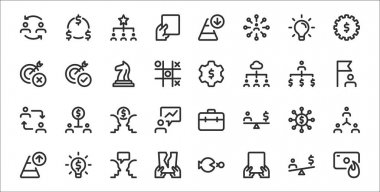 Set of 32 business thin outline icons such as money, card, tear, increase, money, brainstorm, flag, money, target icon