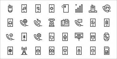 Set of 32 phone thin outline icons such as sim card, lock, smartphone, internet, smartphone, phone call, smartphone, fax, phone call icon