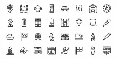 Set of 32 united kingdom thin outline icons such as united kingdom, england, pound sterling, gherkin, big ben, ferris wheel, cricket, westminster, phone cabin icon