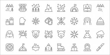 Set of 32 arctic thin outline icons such as knife, navy, hiking, compass, whale, polar bear, beanie, skiing, mitten icon