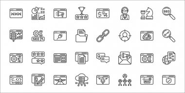Set of 32 internet marketing strategy thin outline icons such as security, affiliate marketing, server, web coding, configuration, advertising, keywording, links, seo icon