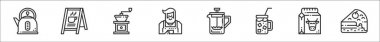 Set of 8 coffe shop thin outline icons such as kettle, , coffee grinder, barista, coffee maker, cold coffee, milk, cake icon