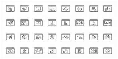 Set of 32 type of website thin outline icons such as download, settings, statistics, photo editing, document, maps, streaming, social media, stock icon
