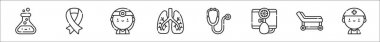 Set of 8 medicine thin outline icons such as flask, pink ribbon, doctor, lungs, stethoscope, baumano, stretcher, doctor icon
