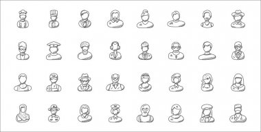 Set of 32 professions thin outline icons such as surgeon, receptionist, cop, arab woman, clerk, spy, phone operator, professional profile, driver icon